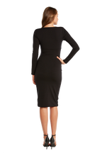 ALI LONG SLEEVE DRESS in colour CAVIAR