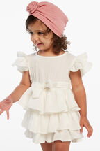 EDNA RUFFLE DRESS in colour SNOW WHITE