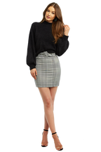 BELTED CHECK MINI SKIRT in colour CLOUD DANCER