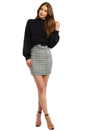 BELTED CHECK MINI in colour CLOUD DANCER