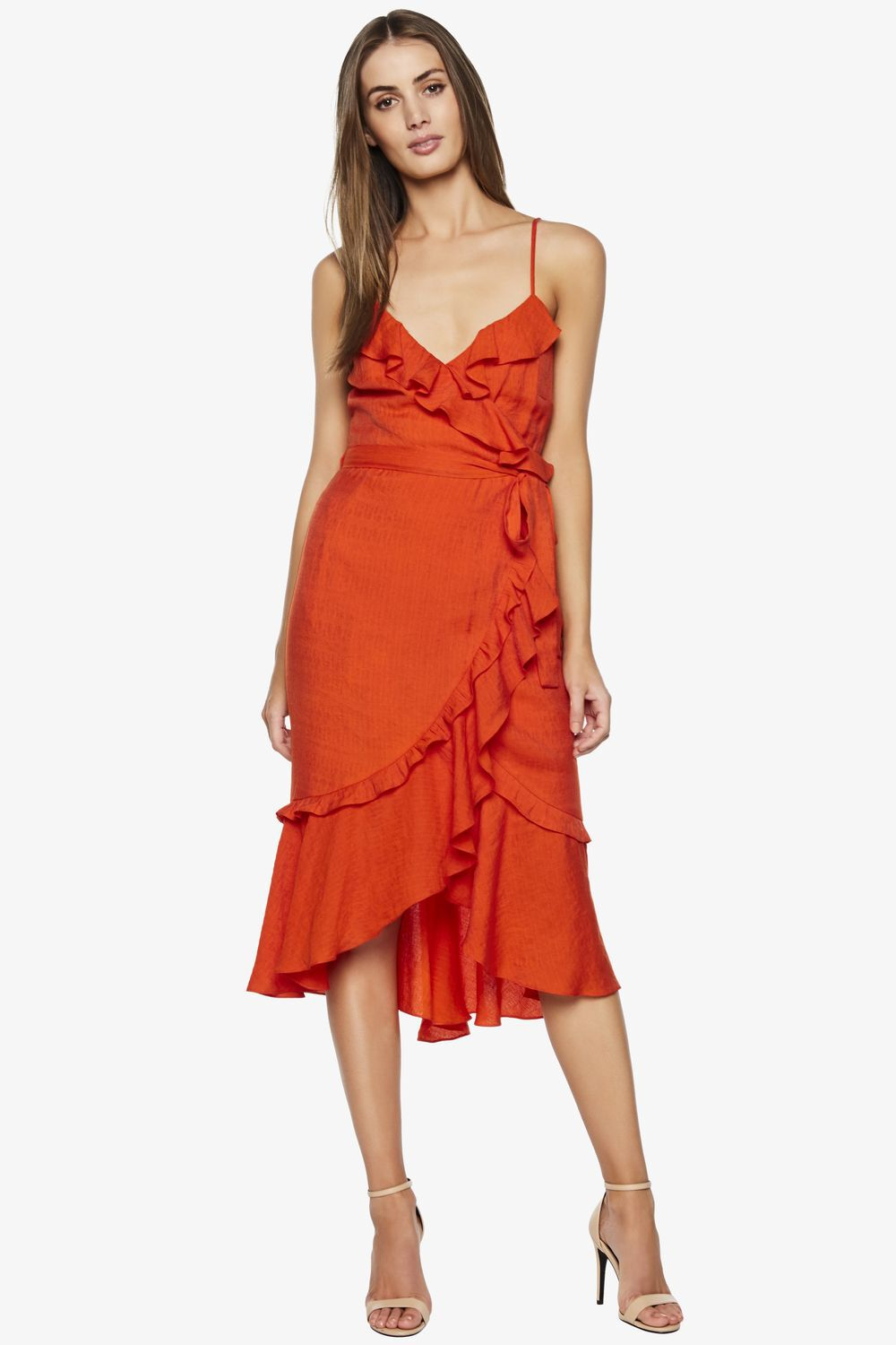 ZOE WRAP DRESS in colour FLAME