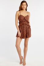 LEOPARD FRILL DRESS in colour COPPER COIN