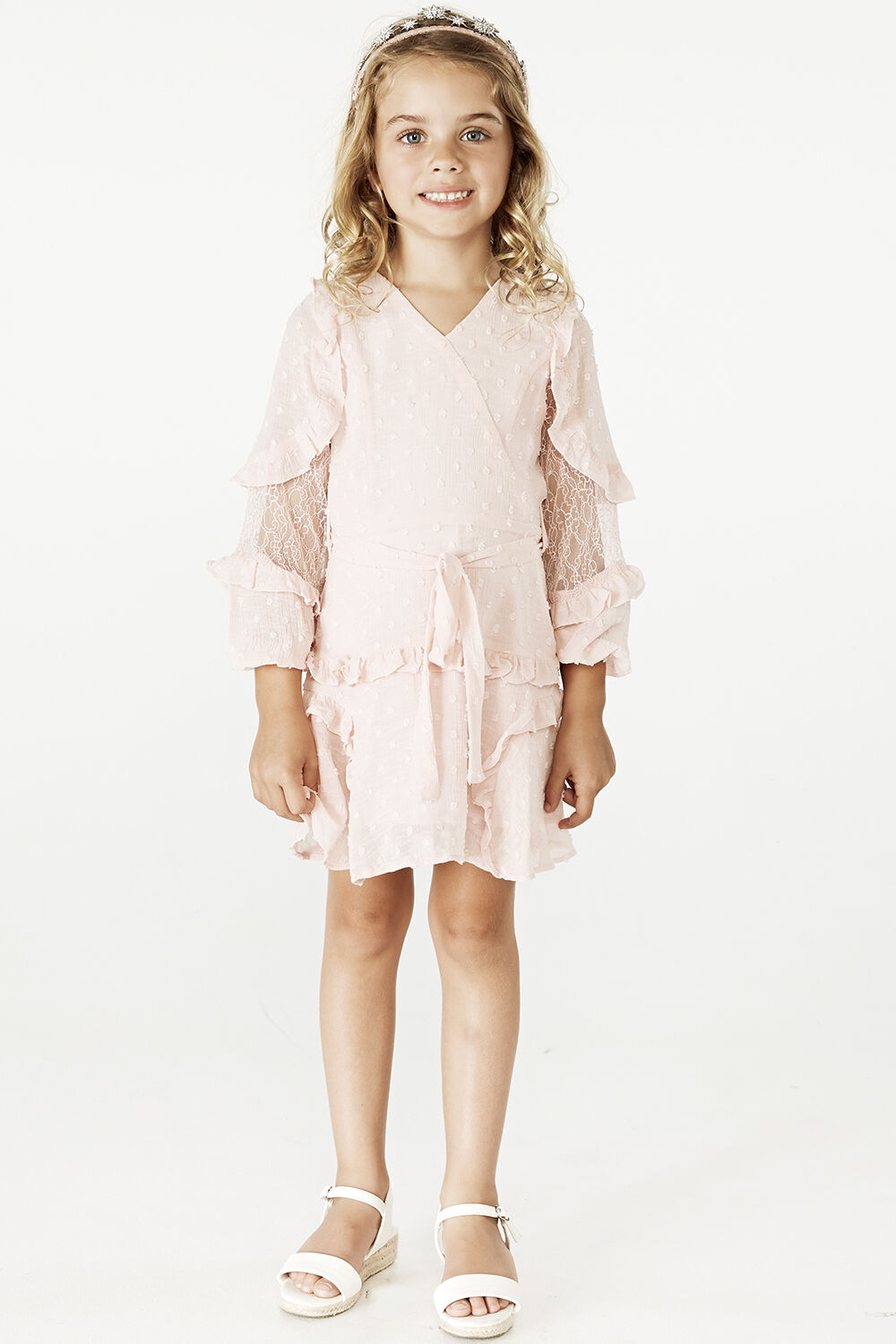 JUNIOR GIRL MIMI DOBBY DRESS in colour POTPOURRI