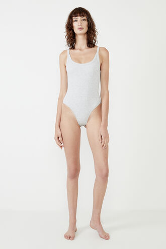 RIB BODYSUIT in colour SMOKED PEARL