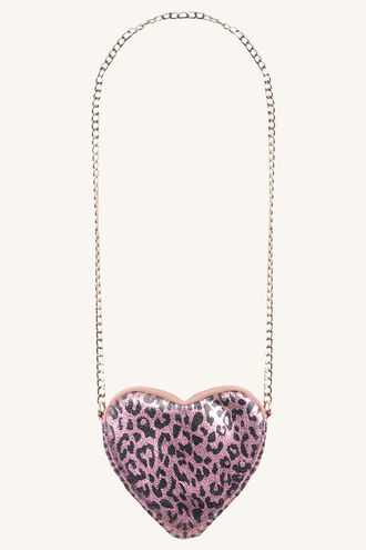 METALLIC LEOPARD HEART BAG in colour PINK CARNATION