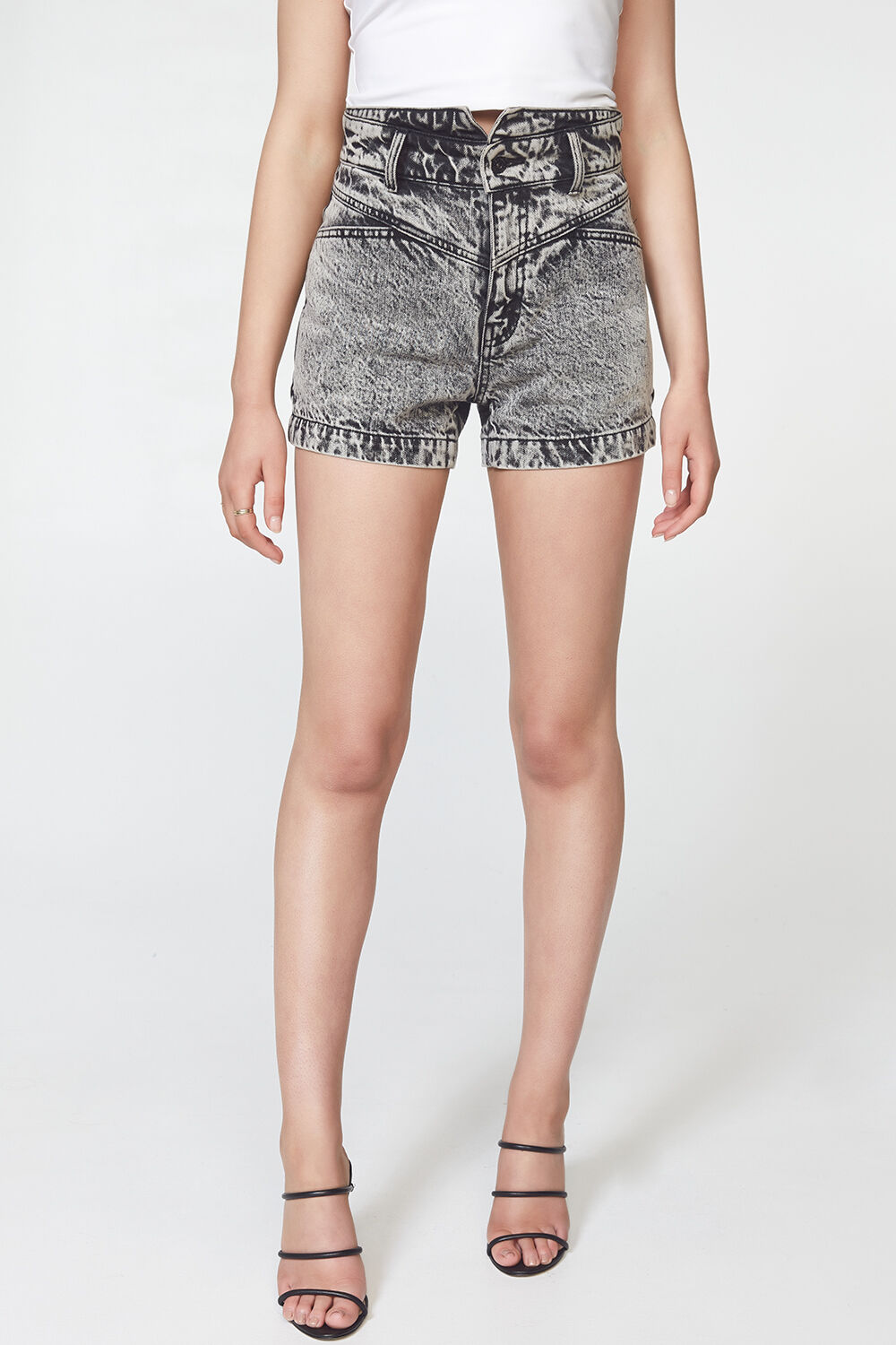 ACID SPLICED DENIM SHORT in colour JET SET