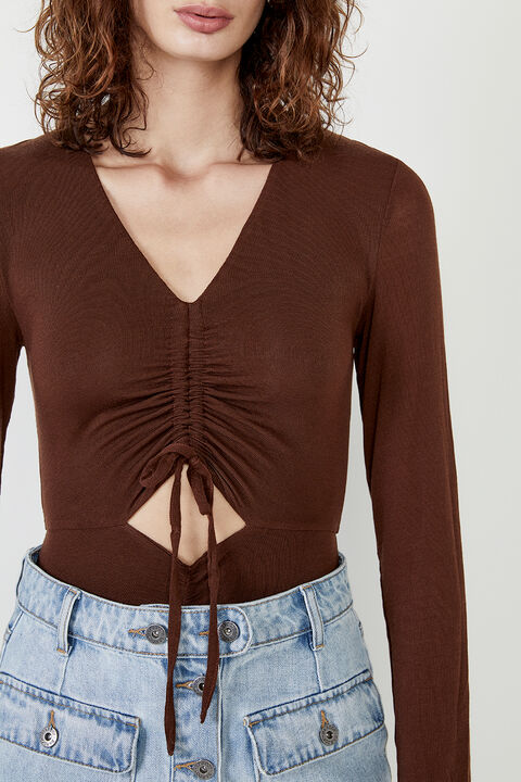 RUCHED BODYSUIT in colour CHOCOLATE BROWN