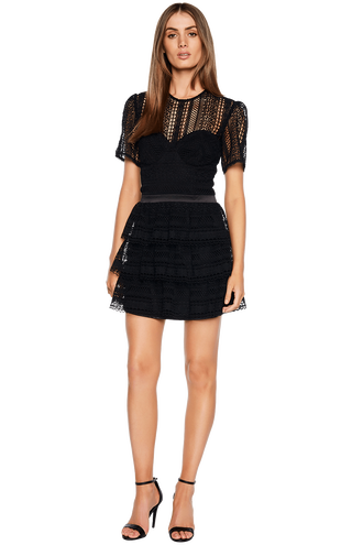 AVA LACE DRESS in colour CAVIAR