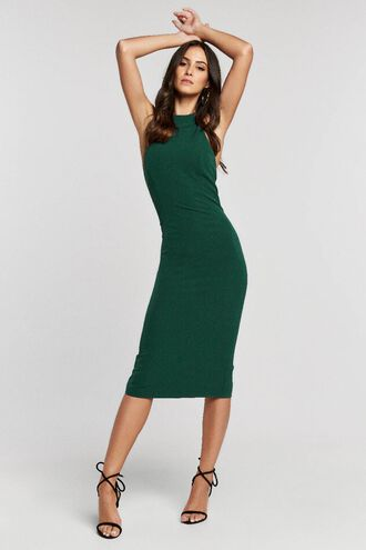 ELSY BACKLESS DRESS in colour DARK GREEN
