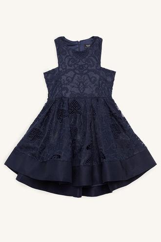 LACE DEBUT DRESS in colour BLACK IRIS