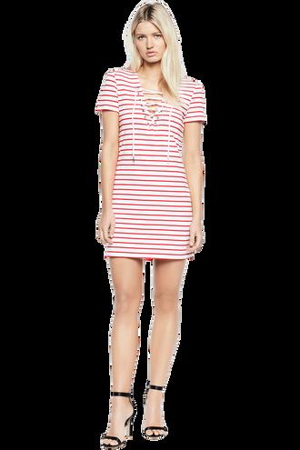STRIPE SWING DRESS in colour BRIGHT WHITE