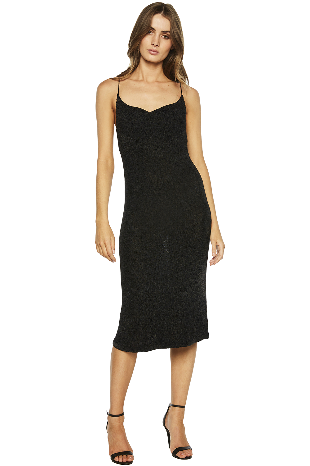 DANI LUREX KNIT DRESS in colour CAVIAR