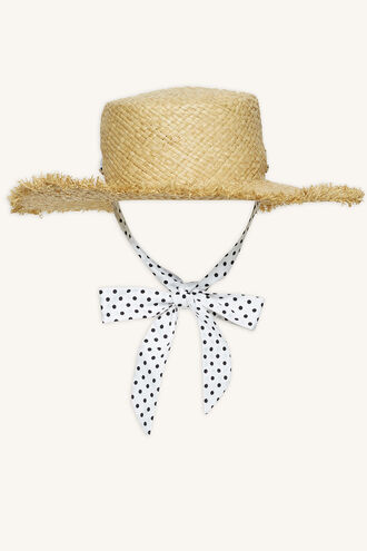 STRAW HAT WITH SPOT BAND in colour BEIGE