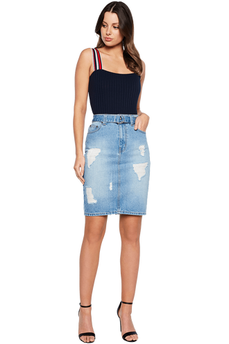 LENA DENIM SKIRT in colour CITADEL
