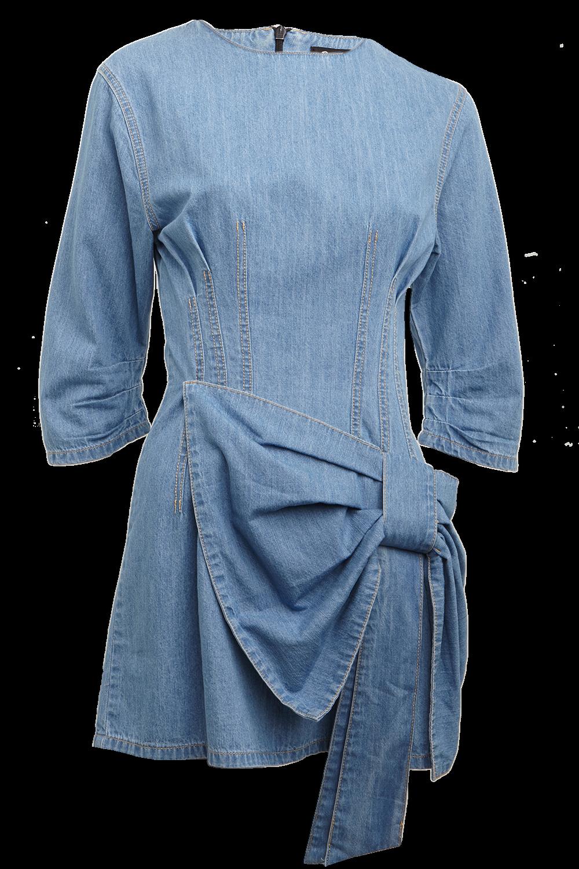 DENIM WATERFALL DRESS in colour WINTER SKY