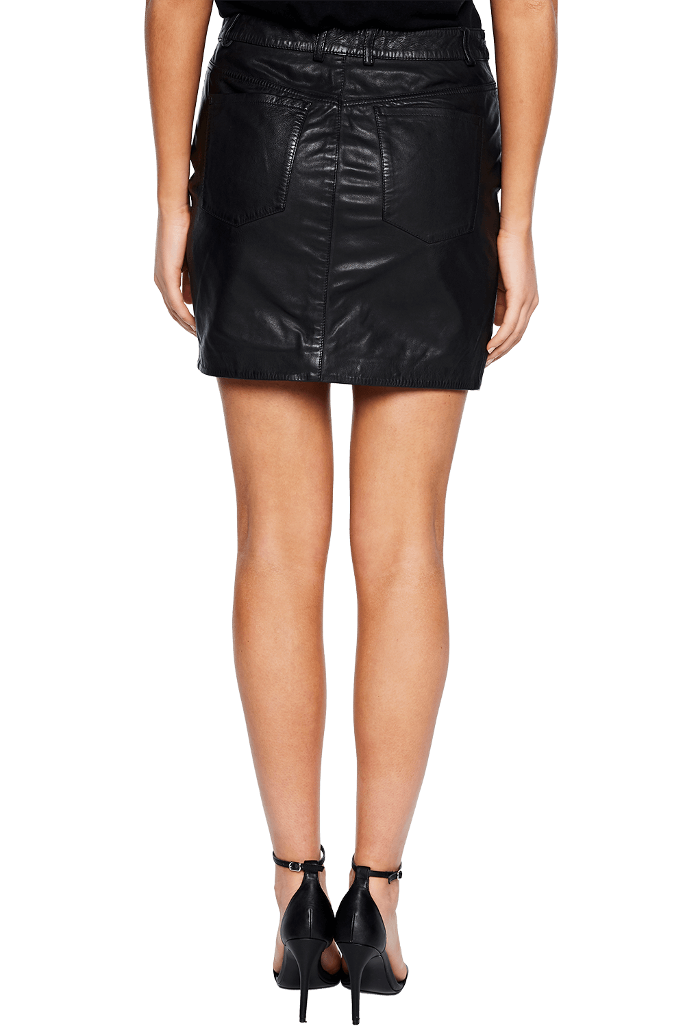 LEATHER MINI SKIRT in colour CAVIAR