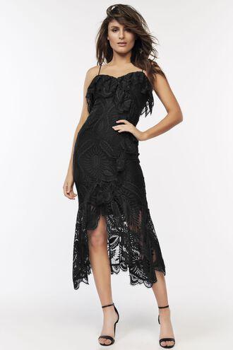 MELINDA LACE DRESS in colour CAVIAR