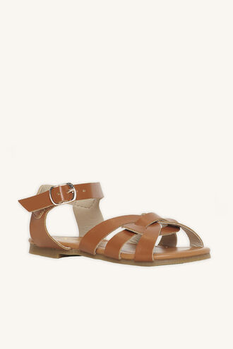 TODDLER AUDREY TWIST FRONT SANDAL in colour TAN
