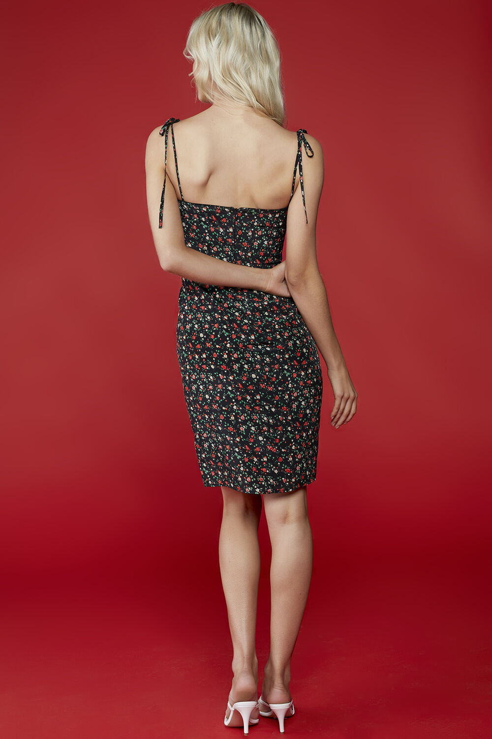DIANNE FLORAL DRESS in colour BLACK BEAN