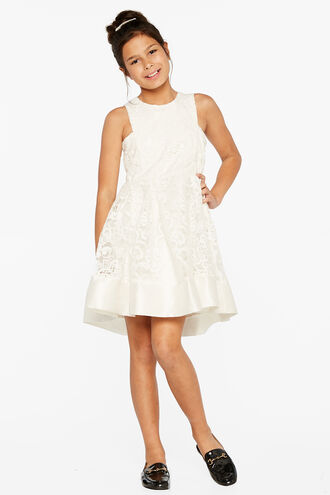 LACE DEBUT DRESS in colour CLOUD DANCER