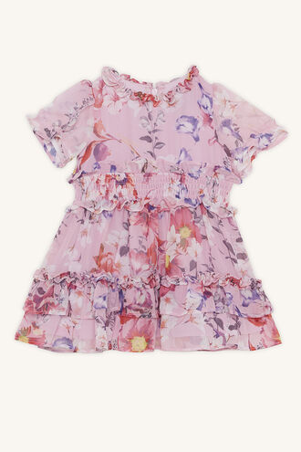 LOU RUFFLE DRESS in colour PRISM PINK