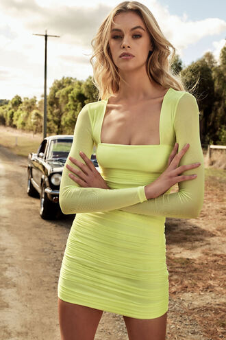 TASHA MESH DRESS in colour LIMELIGHT