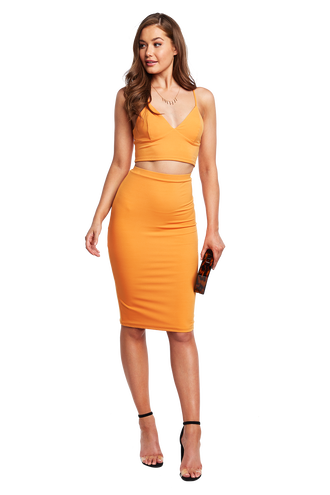 LAURINA MIDI SKIRT in colour FLAME ORANGE