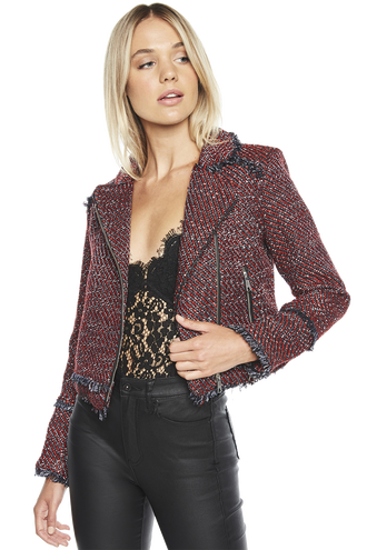BOUCLE BIKER JACKET in colour FORMULA ONE
