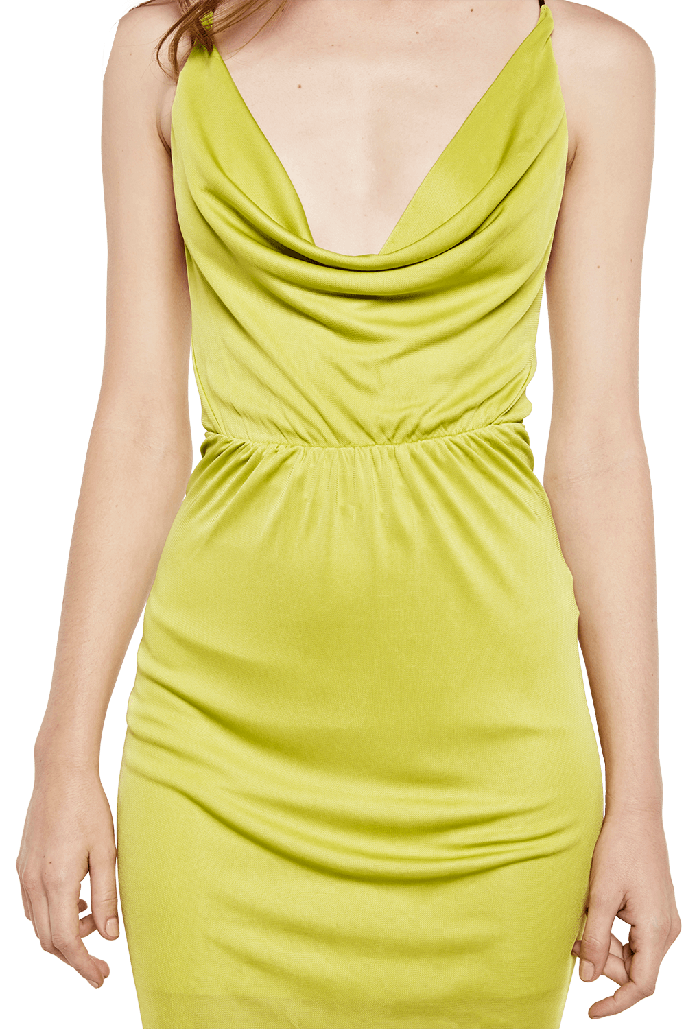 COWL MAXI DRESS in colour LIME PUNCH