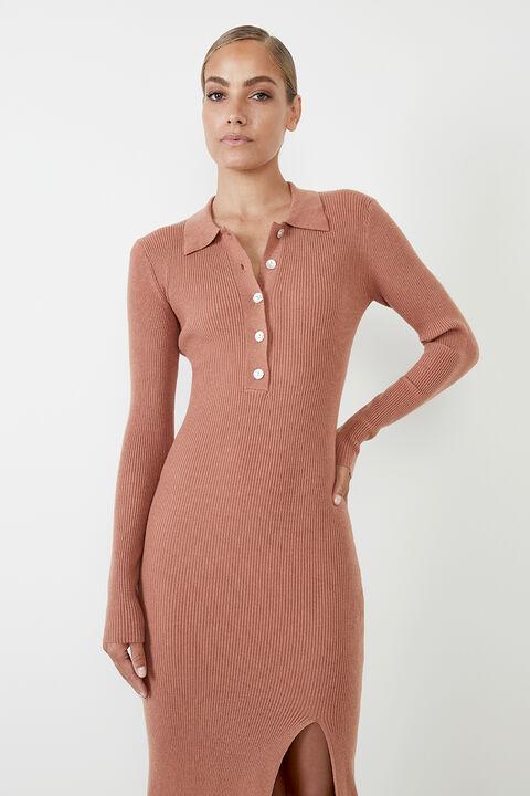COLLAR KNIT DRESS in colour COPPER BROWN