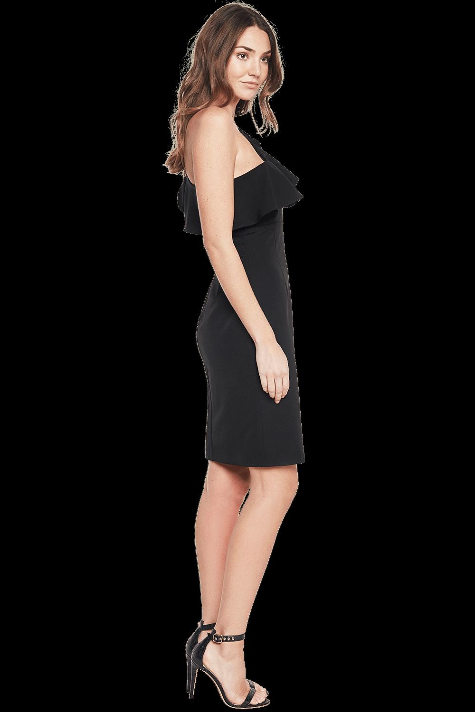 RUFFLE DRESS in colour CAVIAR