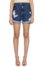 TYRA DISTRESSED DENIM SHORT in colour CITADEL