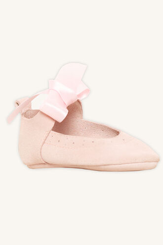REAL SUEDE CUTOUT BOW BABY SHOE in colour PINK CARNATION
