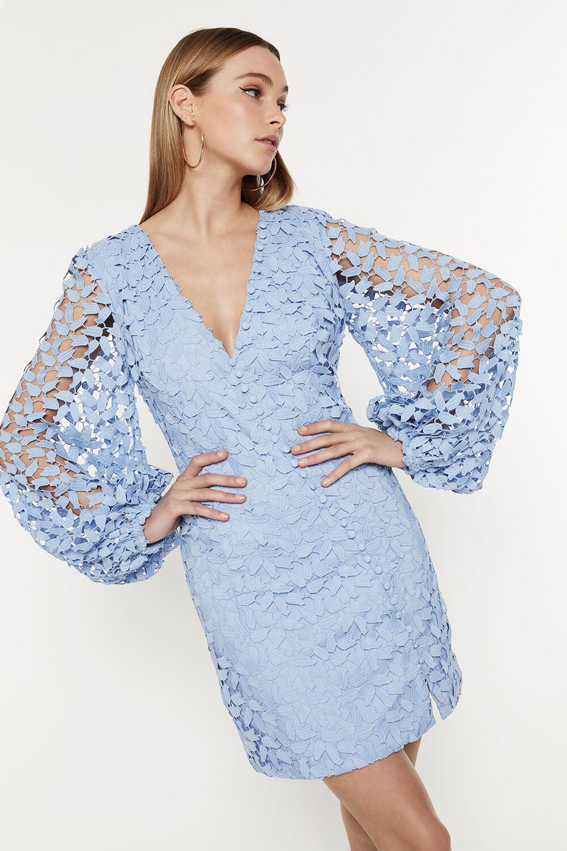 LEAF LACE MINI DRESS in colour ASHLEY BLUE