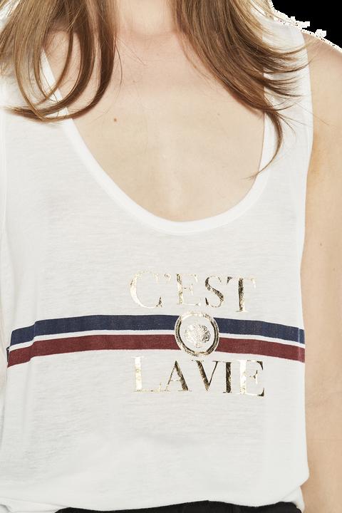 CEST LA VIE TANK TOP in colour BRIGHT WHITE