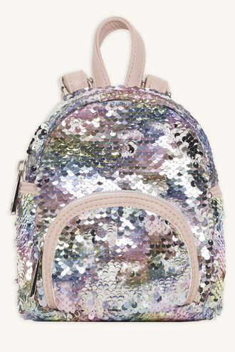 REVERSABLE SEQUIN MINI BACKPACK in colour BRIGHT WHITE