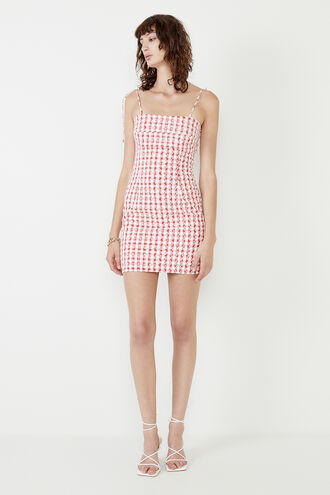KLARA MINI GINGHAM DRESS in colour TANGO RED