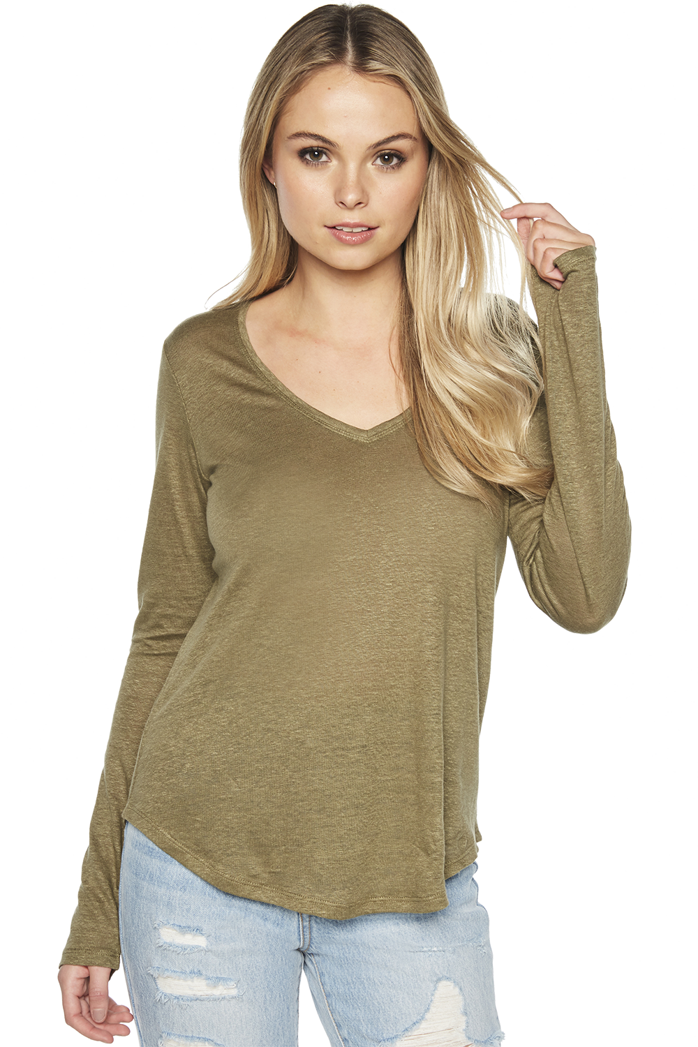 CHARLOTTE LONG SLEEVE TOP in colour BURNT OLIVE