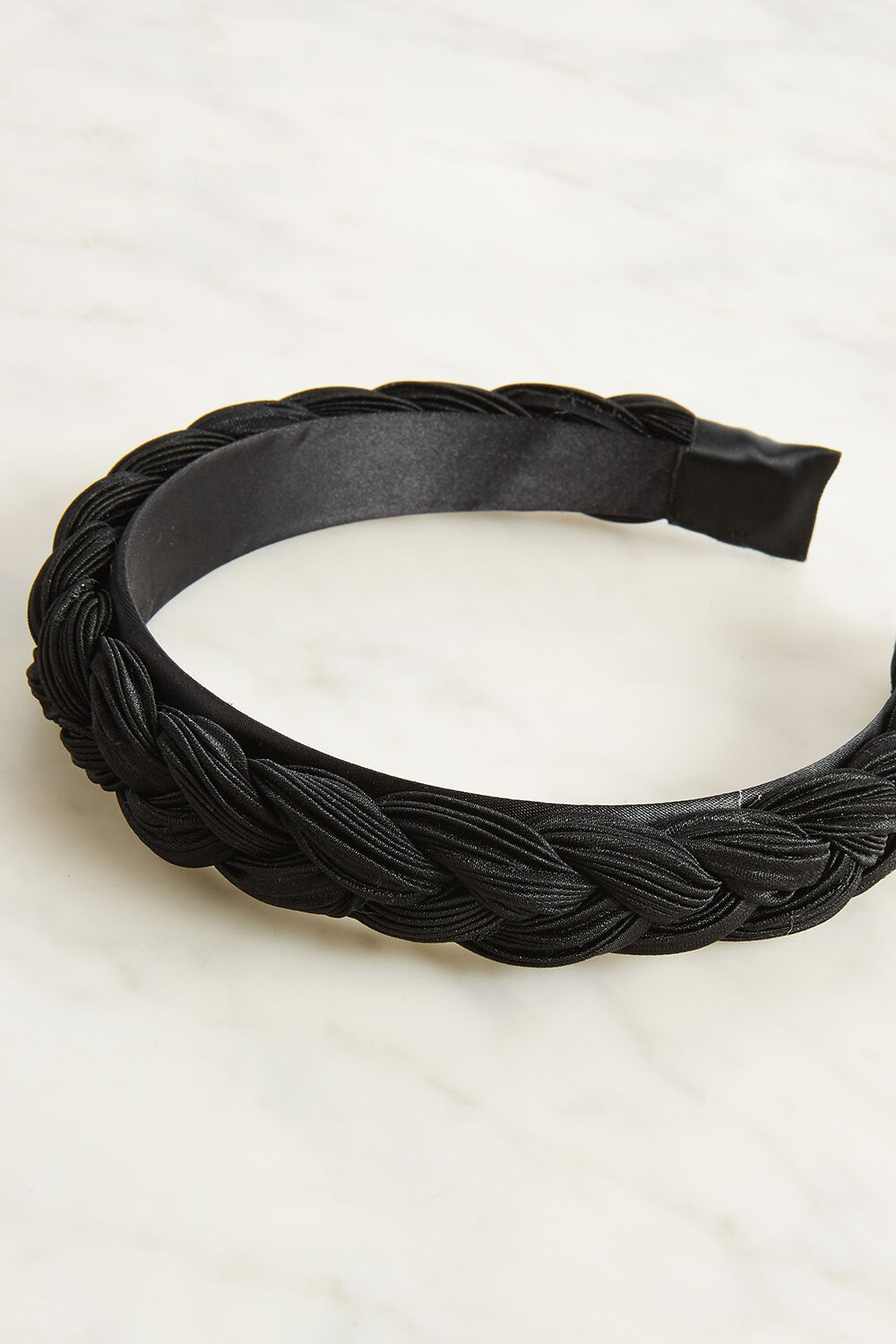 PLEATED PLAIT HEADBAND in colour CAVIAR