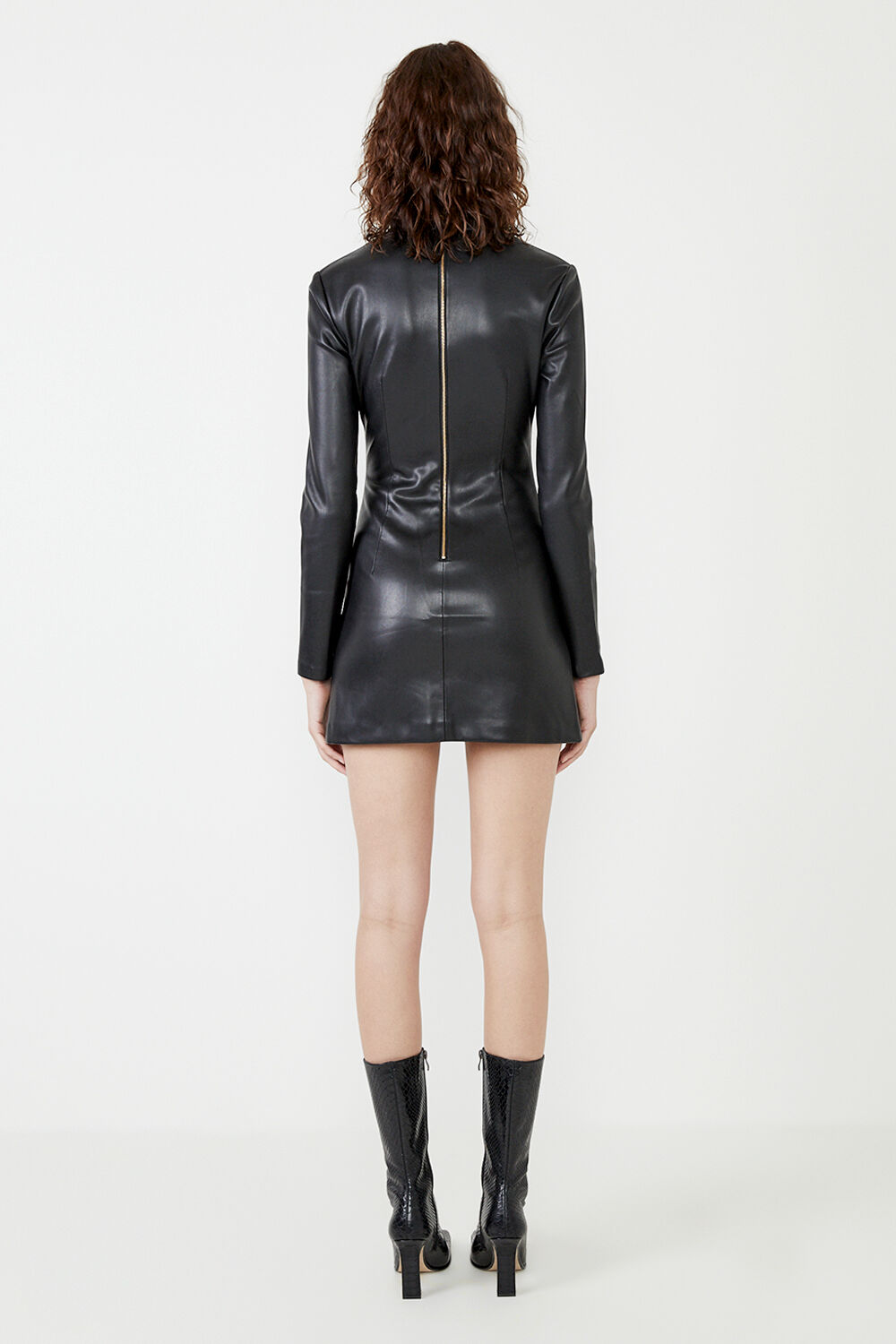 HARLEY VEGAN LEATHER DRESS  in colour CAVIAR