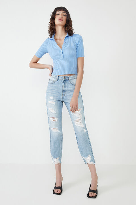 CROP COLLAR TEE  in colour CERULEAN