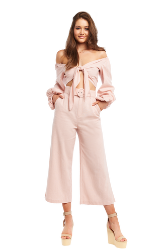 LENNY LINEN PANT in colour MISTY ROSE