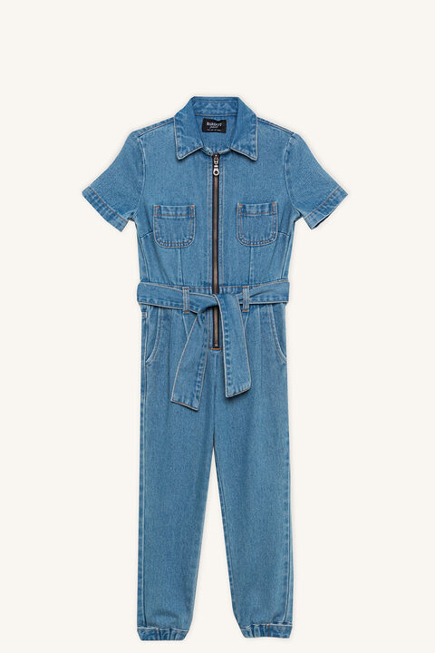 DENIM ZIP JUMPSUIT