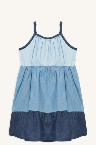 TIERED DENIM DRESS in colour BIJOU BLUE