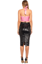 TIE FRONT BUSTIER in colour SEA PINK