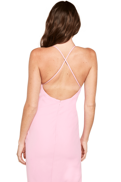 VERA OPEN BACK DRESS in colour PASTEL LAVENDER