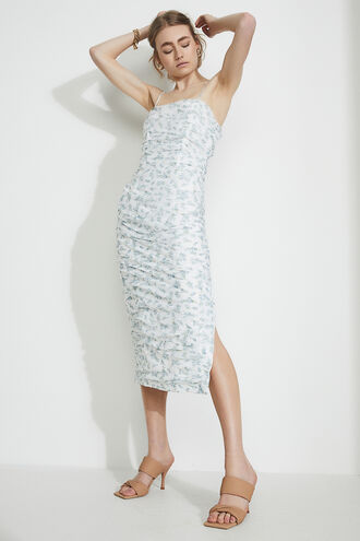 DITSY ROUCHED MIDI DRESS in colour STAR WHITE