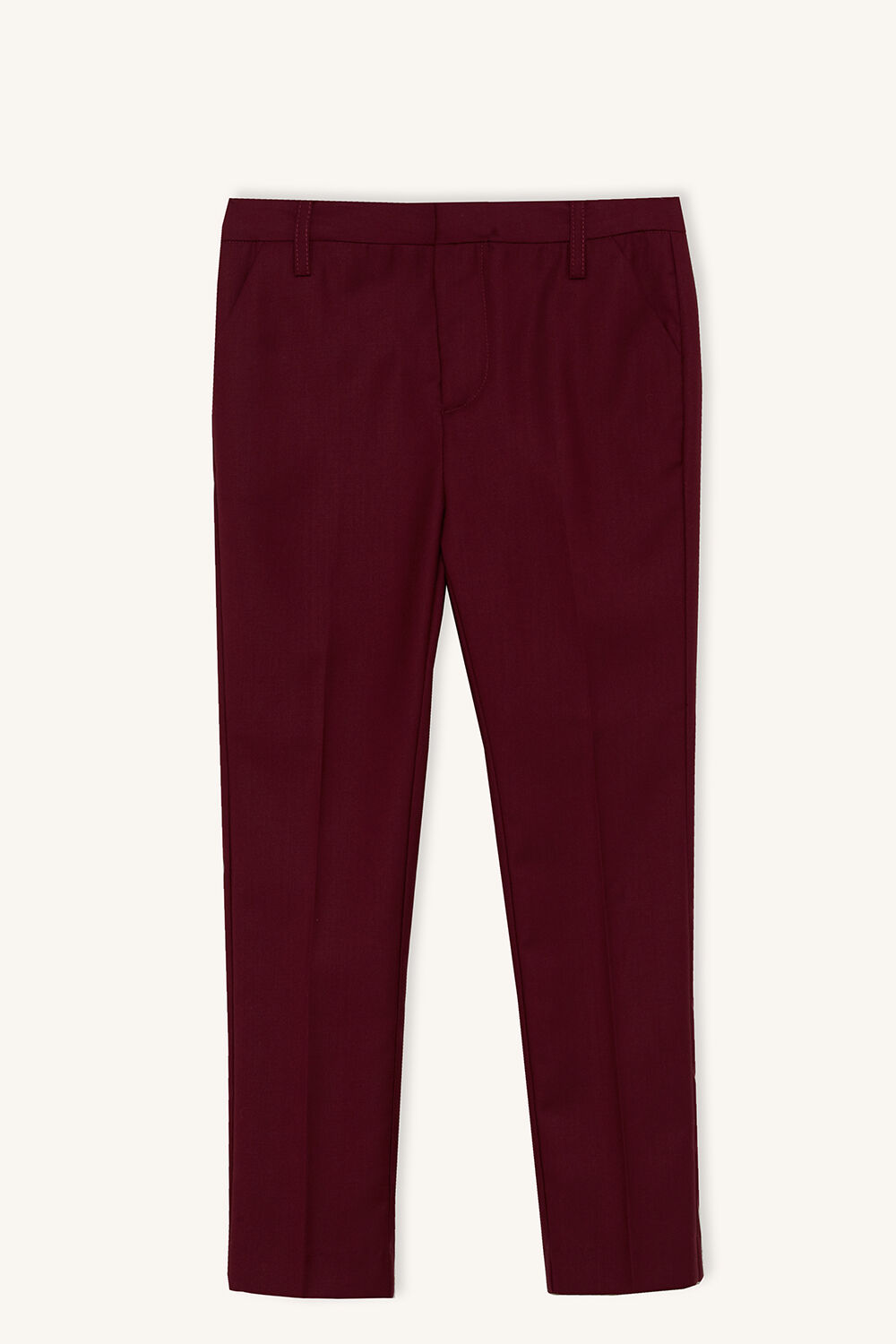 TAPERED SUIT PANT in colour BURGUNDY