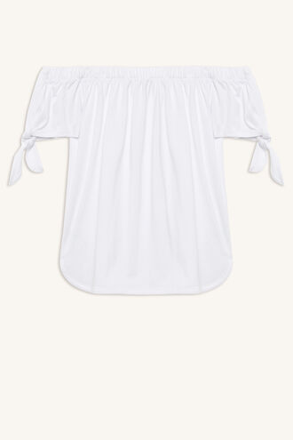 KNOT SLEEVE TOP in colour BRIGHT WHITE