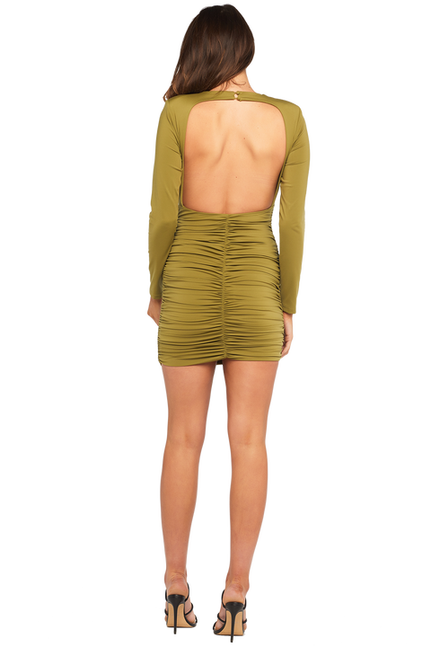 ELENA DRESS in colour OLIVE DRAB